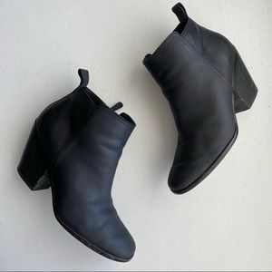 Cole Haan Black Leather Rounded Heeled Ankle Boot